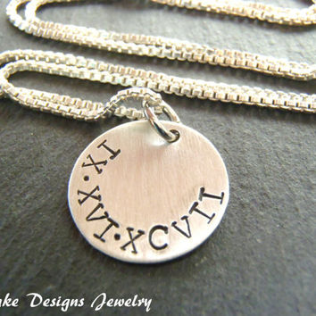 sterling silver roman numeral necklace wedding date necklace