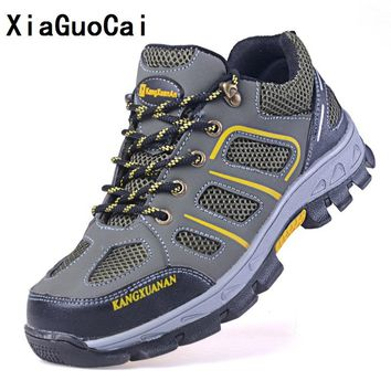 XiaGuoCai Man shoes Steel toe cap Anti smashing Puncture proof  Rubber Construction site safety boots shoes Work Hard-Wearing