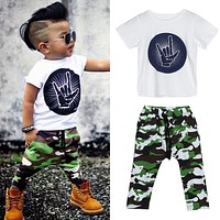 2 Pcs Baby Boys Rock Shirt and Camo Pants Outfit