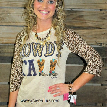 Howdy Y'all Cheetah Sleeve Burnout Baseball Tee