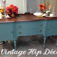 Antique Teal Buffet, Vintage Sideboard, Federal Style Server, Entry Way Piece, Credenza, TV Console