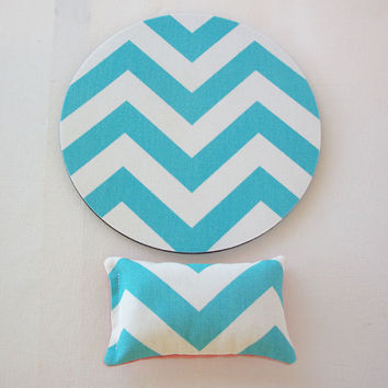 mouse pad - mousepad - mat - wrist rest set - aqua blue chevron and coral - coworker, dorm, friend, cubicle gift decor  accessories