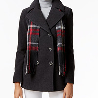 London Fog Double-Breasted Peacoat with Scarf | macys.com