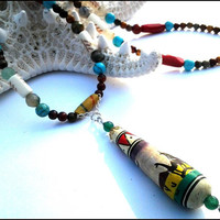 Peruvian Bead Gemstone Women's Necklace | Turquoise Agate Jasper African Sand Beaded Necklace | Lady Green Eyes Jewelry