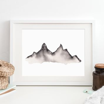 Modern Mountain Black and White Watercolor Painting Art Print