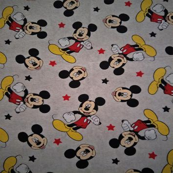 165cm Width Gray Cartoon Mickey Mouse and Stars Soft Knitted Cotton Fabric for Boy Clothes Dress Sewing Patchwork DIY-AFCK263