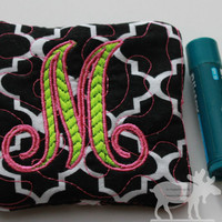 Quilted Coin Pouch / Change Purse / Money Pouch / Monogrammed Purse / Custom Purse / Black Purse / Black Pouch / Quilted Purse/Quilted Pouch