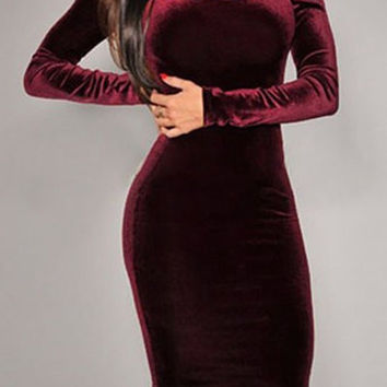 Scoop Neck Long Sleeve Solid Color Backless Bodycon Low Cut Dress