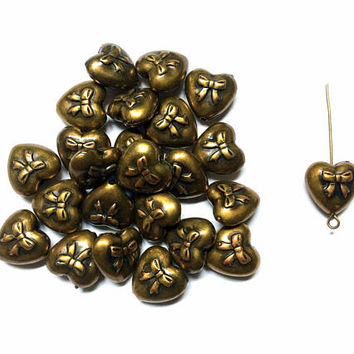 set of 10 pieces heart with bow bead charm, 15mm x 15mm, antique gold acrylic - C104