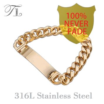 TL AAA+Never Fade!!  Stainless Steel ID Bracelets Men Fashion Jewelry Gold Silver Men Id Bracelet Pulsera Hombre Solid Bracelets