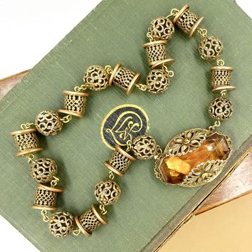 VINTAGE CZECH GLASS NECKLACE Brass Filigree Bead Citrine Yellow Front Closure Clasp