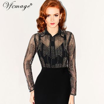 Vfemage Womens Sexy Bead Embroidery Transparent Mesh Turn Down Collar Spring Summer Vintage Female Casual Top Shirt Blouse 7021