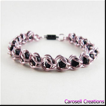 Captured Bead Chain Maille Bracelet or Anklet Pink with Black Beads Chainmaille