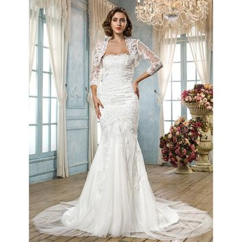 Mermaid  Wedding Dress Trumpet Scalloped-Edge Court Train Tulle Bridal Gown with Beading Appliques