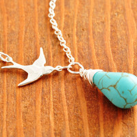 Flying Bird Necklace - small bird necklace, turquoise necklace, silver bird necklace, sterling necklace
