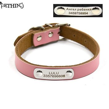 Genunie leather dog collar free engraving DIY dog tag collar pet collar customized information tag on collar S M L four colors