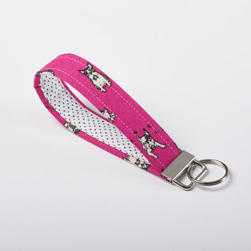 Dog Key Fob, Boston Terrier Keychain, Fabric Key Ring, Wristlet - Fushia Pink