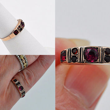 ON SALE Antique Victorian 9CT 9K Rose Gold & Spinel Ring, Red, Pink, 7 Stone, Multi Stone, Gemstone, Paste, Birmingham, 1894, Size 6! #b589