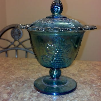 Indiana Glass Lace Edged Footed Candy Dish, Blue glass