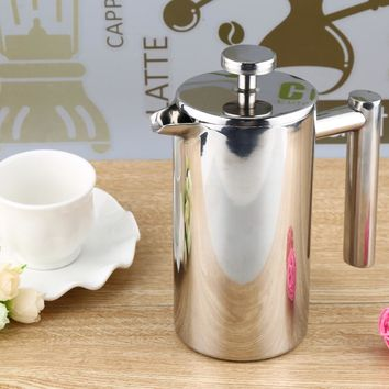 350/800/1000ML Espresso Coffee Maker Pot Practical Stainless Steel Cafetiere Double Wall Insulated Tea Coffee Maker with Filter