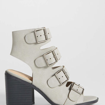 Cecelia heel with buckles in gray | maurices