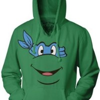 TMNT Teenage Mutant Ninja Turtles Orange Michaelangelo Face Green Adult Hoodie Sweatshirt
