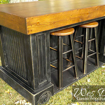 Steampunk Industrial Custom Kitchen Island Cart with Built-In Stool Storage