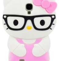 LliVEER 3d Cute Hello Kitty Cat Soft Silicone Rubber Gel Case Cover Skin for Samsung Galaxy S4 I9500 (glasses/Light Pink)