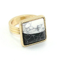 Fashion Gold Plated Square White/Black Turquoise Cocktail Band Ring