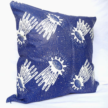 Blue African Wax Print Decorative Pillow Cover