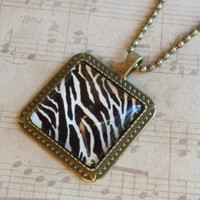 "Zebra Animal Print Black & White Square Antiqued Brass Glass 27"" Long Necklace"