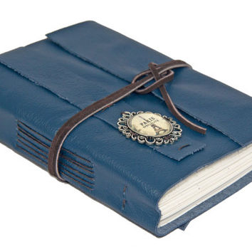 Navy Blue Leather Journal with Lined Paper and Cameo - Ready to ship