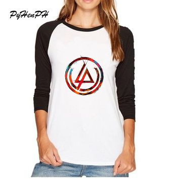 Linkin Park Print T-Shirt Women Autumn Geometric Design Raglan Full Sleeve Tops Woman Girl Casual Tumblr T Shirt Female 8282