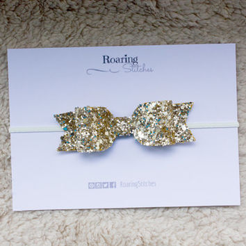 Large chunky gold glitter bow girly headband