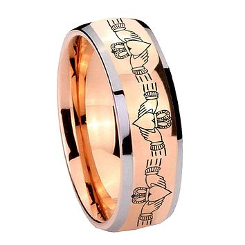 8MM Rose Gold Dome Irish Claddagh 2 Tone Tungsten Carbide Laser Engraved Ring