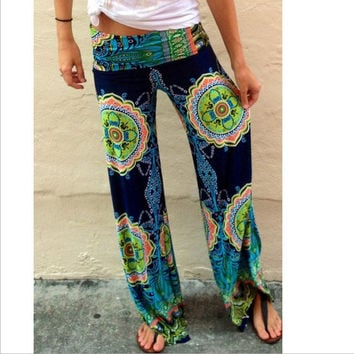 Straight Flower Print Casual Empire Long Pants