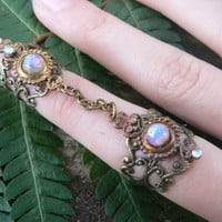 armor ring double chained ring SALE 24.00 nail ring claw ring nail tip ring knuckle ring vampire goth victorian goddess pagan boho gypsy