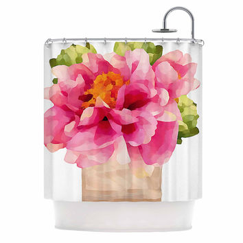 "Oriana Cordero ""Peonies"" Pink Green Shower Curtain"