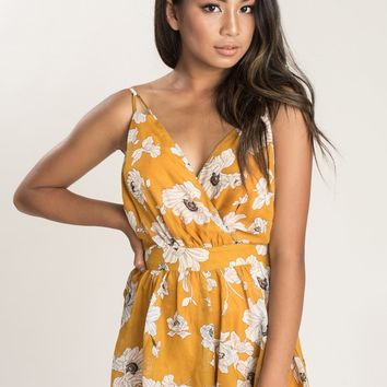 Melissa Mustard Floral Backless Romper