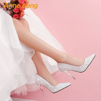 women pumps High thin heel bling Bridal wedding shoes classic po 121f362f99fd