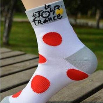 ESBEB2 2 Pairs/Pack Cycling Stars Professional Tour de France Cycling Socks Run Outdoor Stocking Mountain Bike Socks