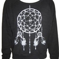 Ladies Raglan Tri-Black Pullover Top Sweatshirt American Apparel Dreamcatcher Art Print S