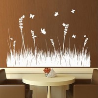 Wall Decal Vinyl Sticker Decals Art Decor Design Grass Branch Plant Nature Flower Butterfly Tree Dorm Bedroom House Fashion Gift (M1324)