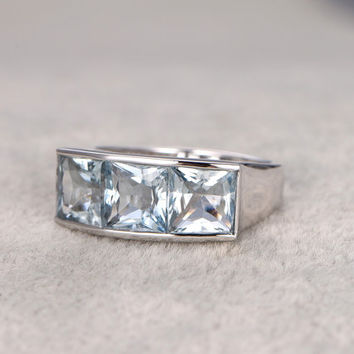 4.5ctw Aquamarine Engagement ring,Diamond wedding band,14K White Gold,Princess cut,Gemstone Promise Bridal Ring,IF Blue,Propose ring