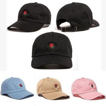 ESBG8W The Hundreds Rose Embroidered Hat Baseball Cap Fashion Unique Adjustable Embroidered Rose Hats