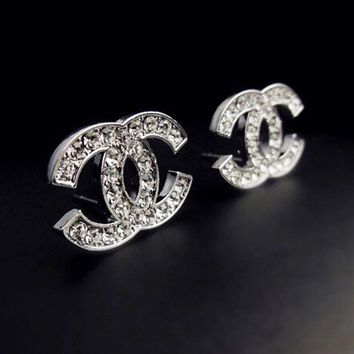 Chanel Fashionable Women Simple Small Diamond Earrings