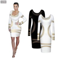 ADM 2015 Fashion Sexy Spring  Women's Dress Bronzier print Long-Sleeve Slim Dress With Kim Kardashian Star Plus Size S-2XL