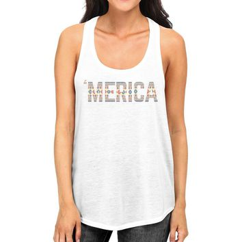 'Merica Womens White Graphic Tank Top Cute Tribal Pattern Design