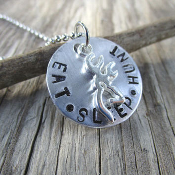Eat Sleep Hunt Browning Necklace, Buckmark, Deer Head Necklace