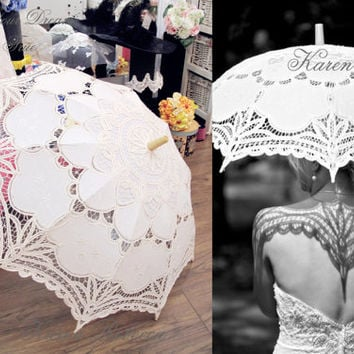 Special Offer Ivory Battenburg Lace Vintage Umbrella Parasol For Bridal Bridesmaid Wedding
